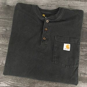 Black Carhartt Henley Long Sleeve Shirt